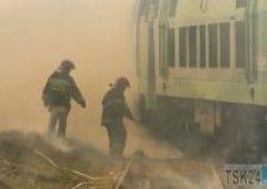 Pożar na terenie PKP Cargo