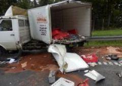 Zderzenie samochodu ciężarowego z dostawczym