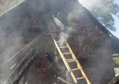 Pożar budynku mieszkalnego i budynków gospodarczych w miejscowości Łączna